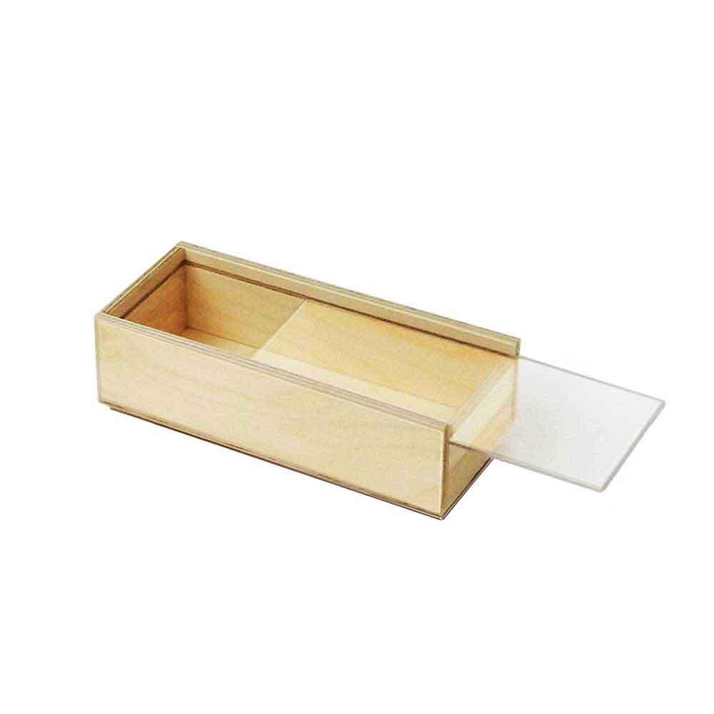 Scatola in legno con coperchio scorrevole trasparente 19x7,6
