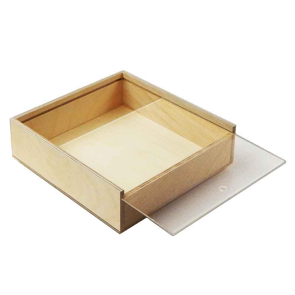Scatola in legno con coperchio scorrevole trasparente 19x18,2