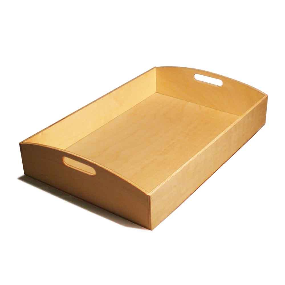 Vassoio rettangolare grande in legno con due lati arrotondati