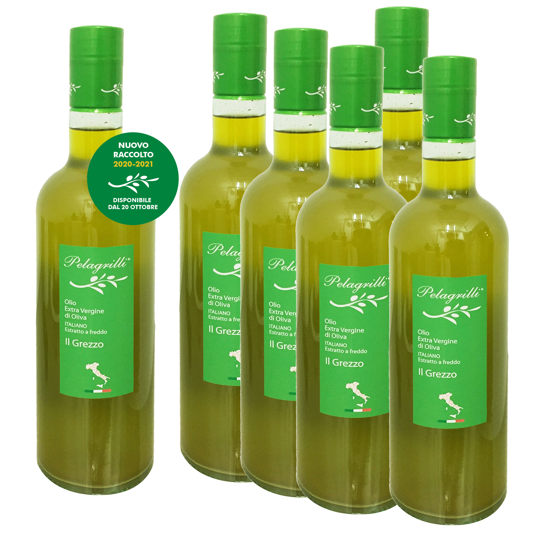 100% ITALIANO - Olio extravergine di oliva confezione da 6 bottiglie da LT 0,75 ciascuna - Raccolto 2020-2021- estratto a freddo GREZZO