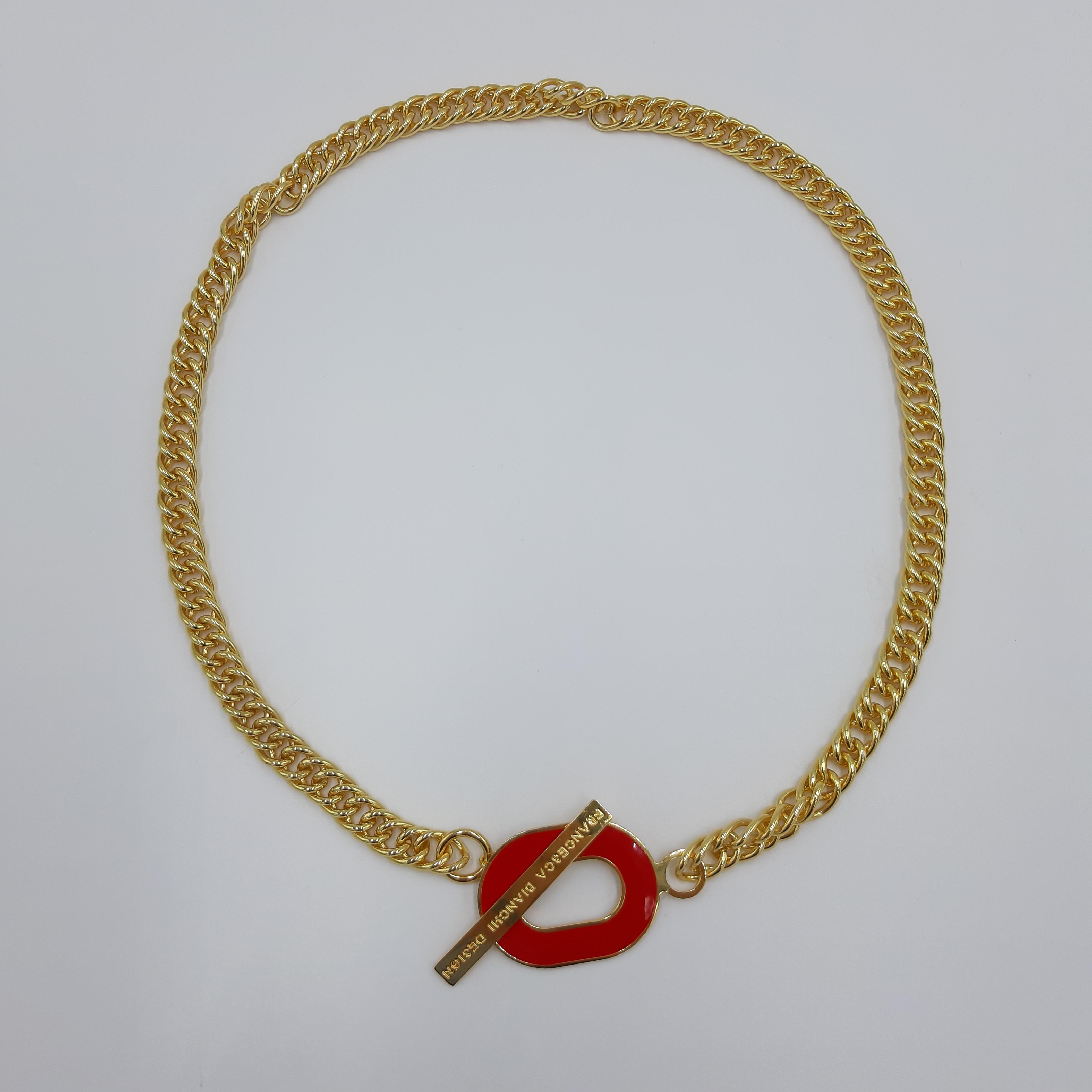 Collana oro con dettaglio logo rosso Francesca Bianchi Design