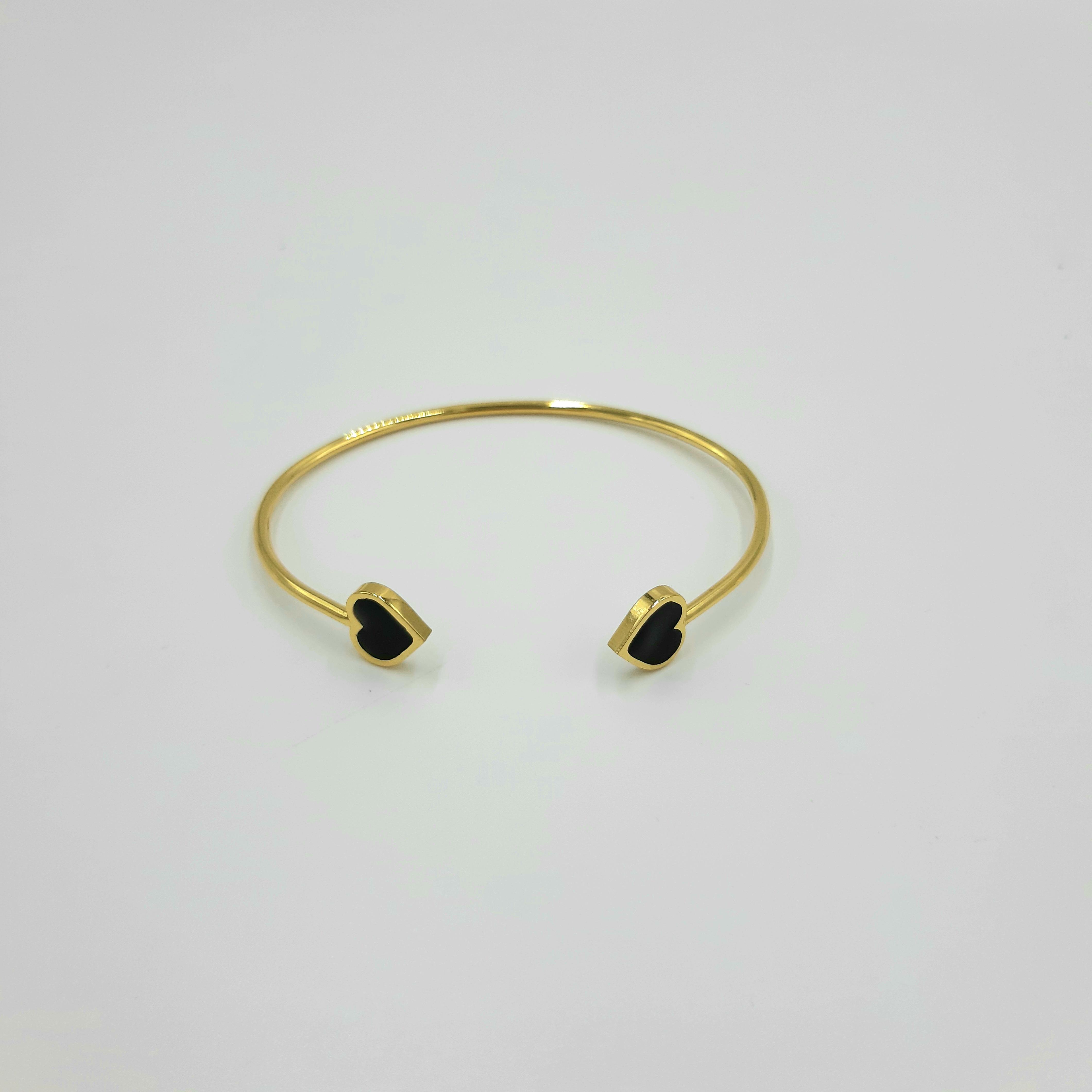Bracciale oro open cuore nero Francesca Bianchi Design
