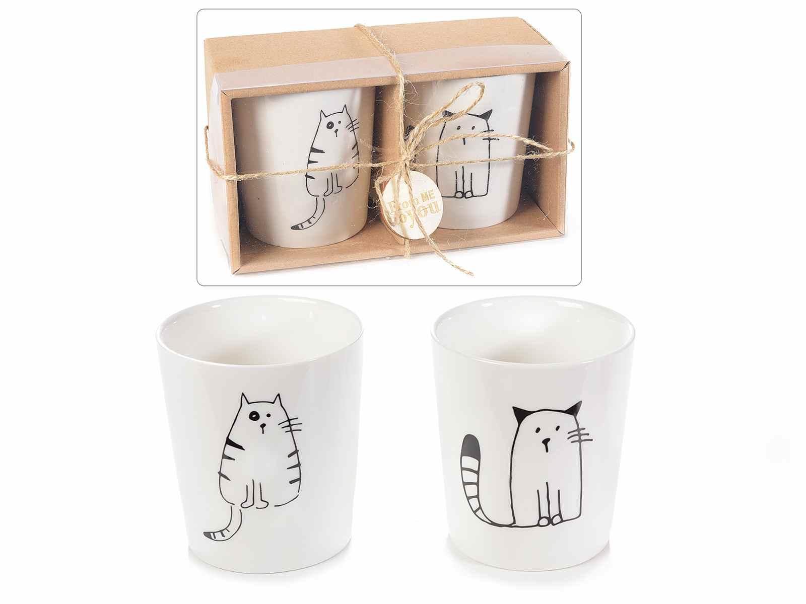 Set da 2 Bicchieri Gatto