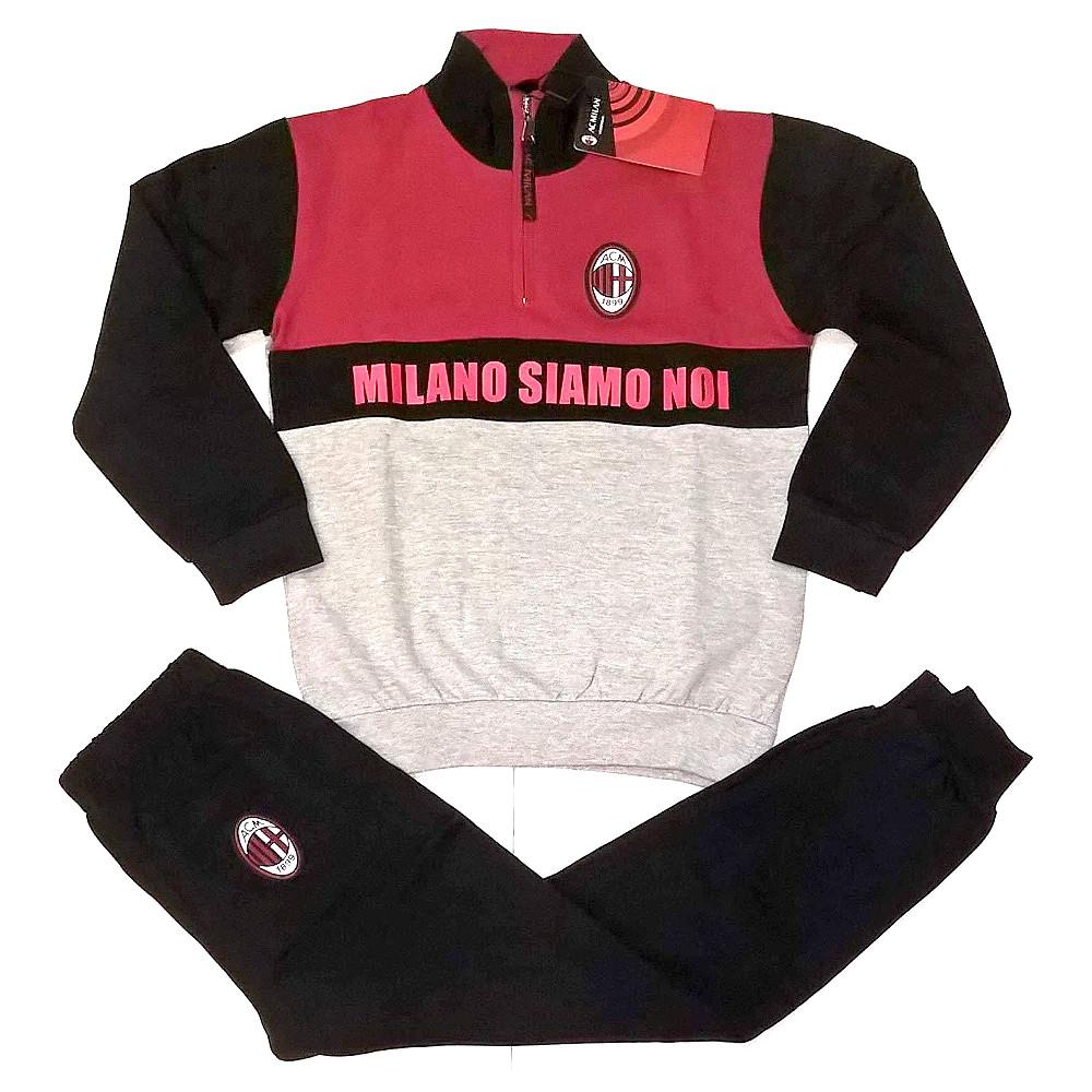 Pigiama taglia S anni Milan mezza zip rosso