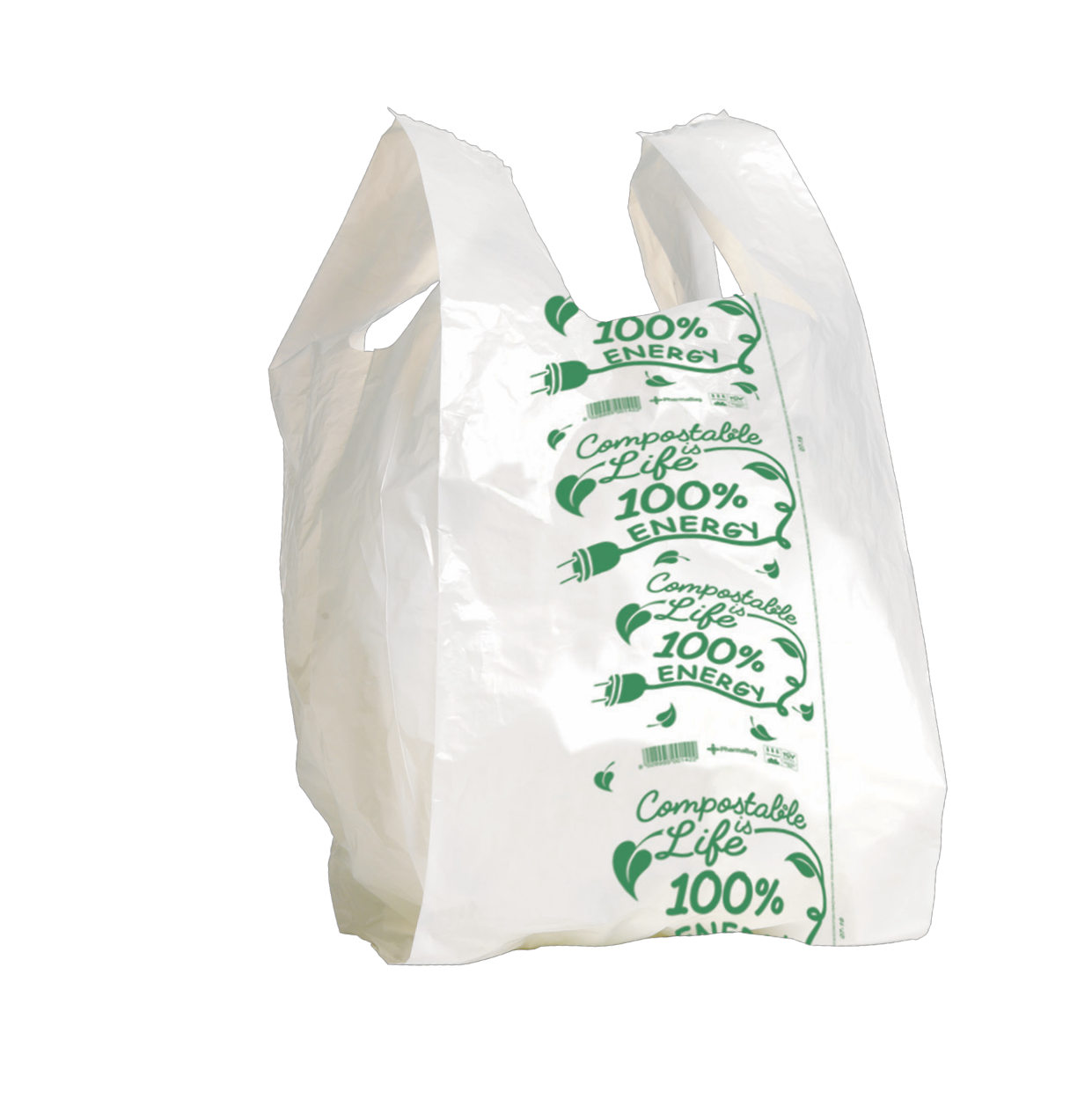 MINI Shopper bianco compostabile formato shopper: 24+6,5+6,5x40 cm.