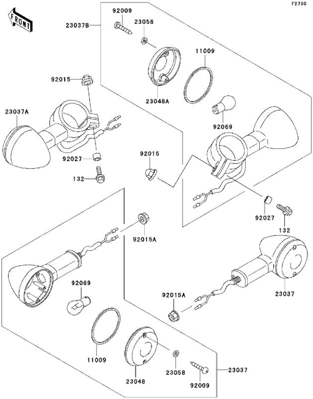 Lente Lampeggiatore Anteriore DX SX Kawasaki BN/VULCAN/EJ/EL/EN/VN