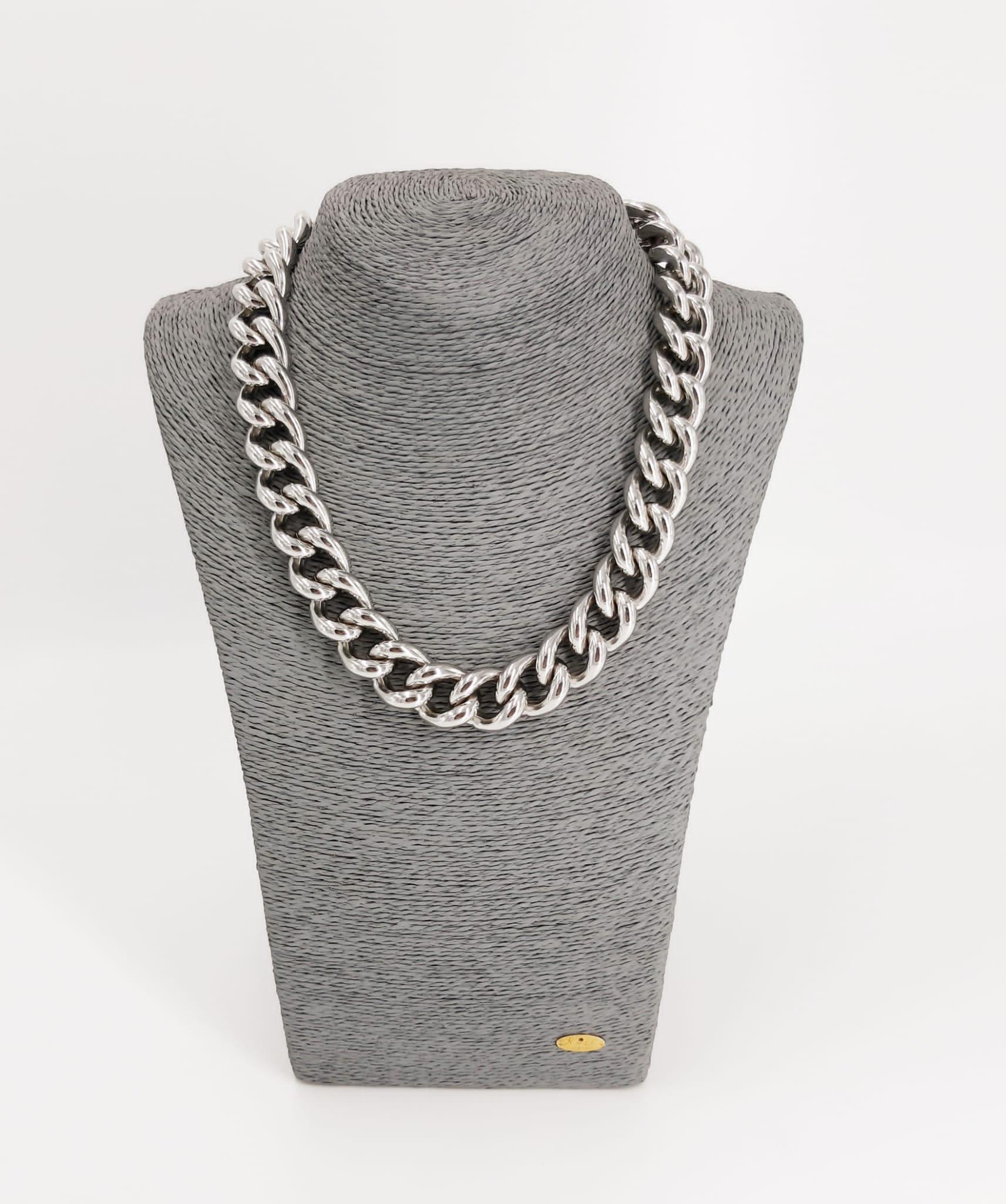 Catena grumetta maglie larghe oro bianco Francesca Bianchi Design