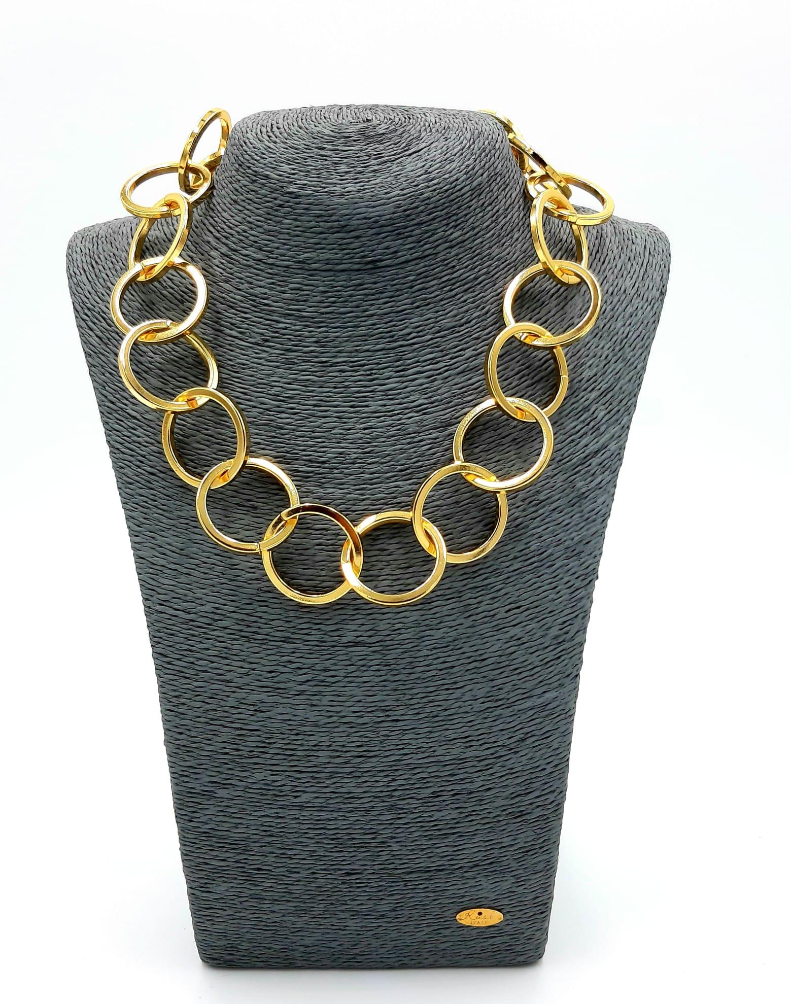 Catena anelli tondi oro Francesca Bianchi Design