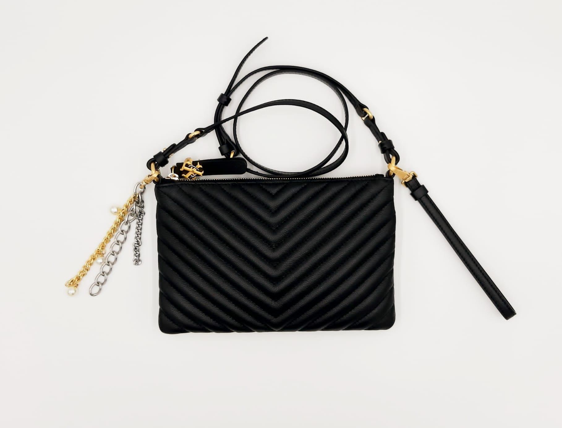 Flat Logo Bag in pelle trapuntata nera Pinko