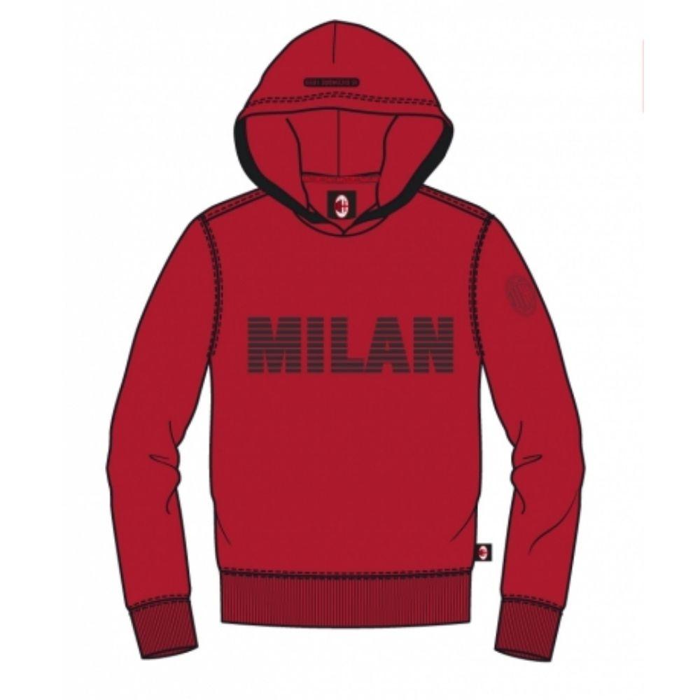 Felpa 8 anni Milan rossa con cappuccio