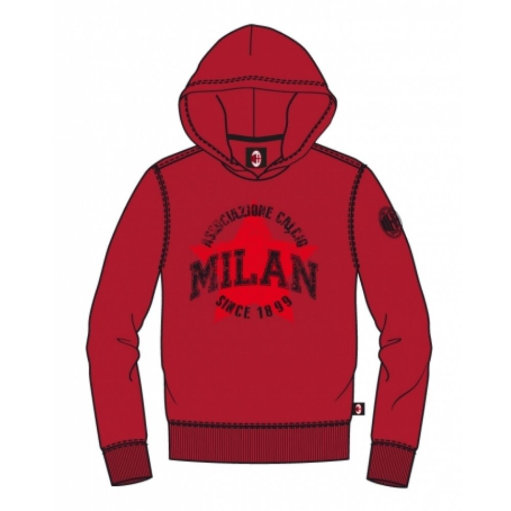 Felpa 14 anni Milan rossa con cappuccio stampa a rilievo