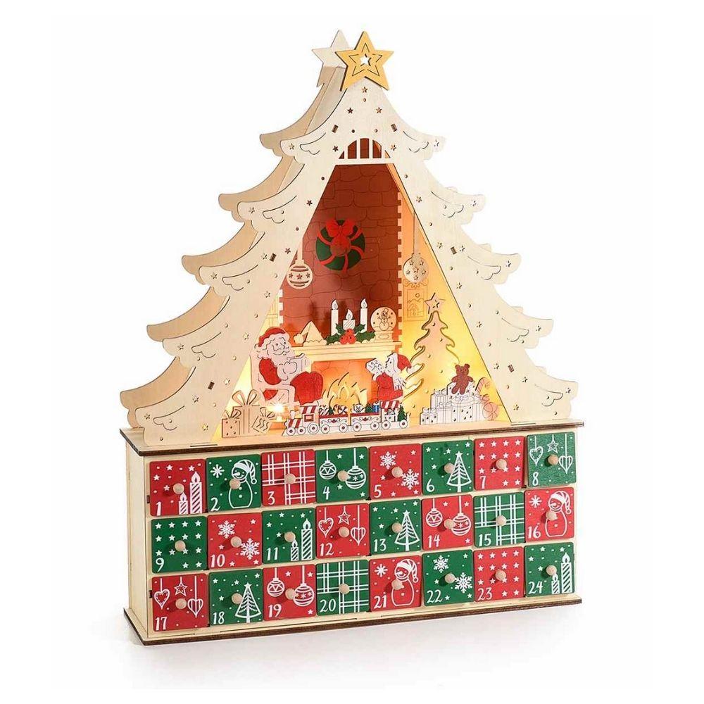 Calendario dell'Avvento in legno ad albero con luci led