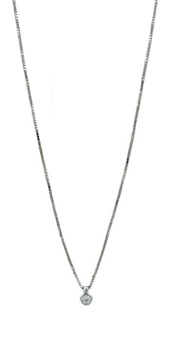 Girocollo Yukiko punto luce a cipollina in oro bianco 18kt con diamante kt.0,05