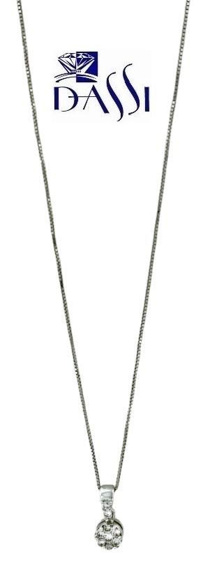 Girocollo punto luce a grif in oro bianco 18kt con diamante centrale contornato da 6 diamanti
