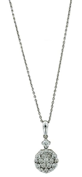 Girocollo in oro bianco 18kt Giorgio Visconti con ciondolo rotondo con pavè di diamanti
