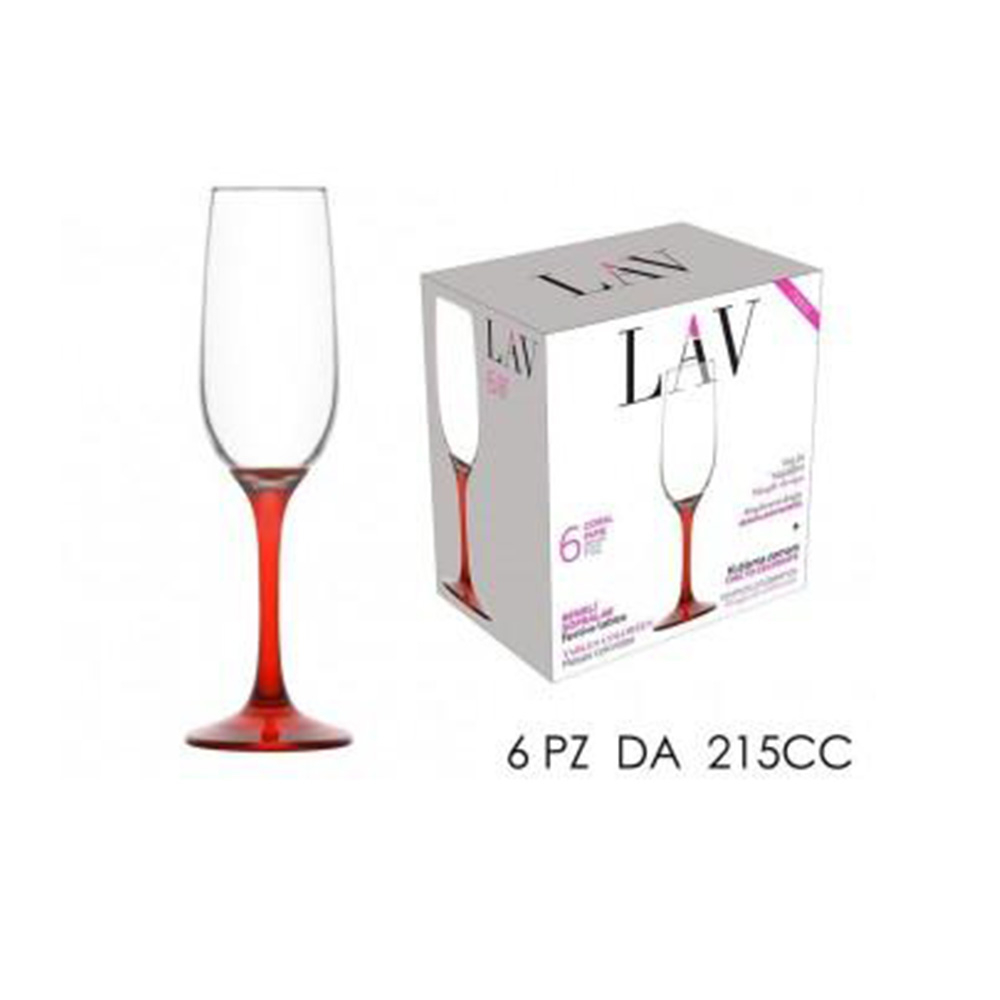 General Trade Set 6 Calici Champagne Flûte 215cc Stelo Rosso