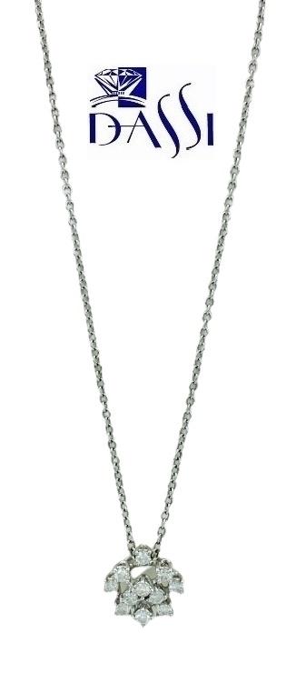 Girocollo in oro bianco 18kt De Lazzari con ciondolo a fiocco di neve con diamanti