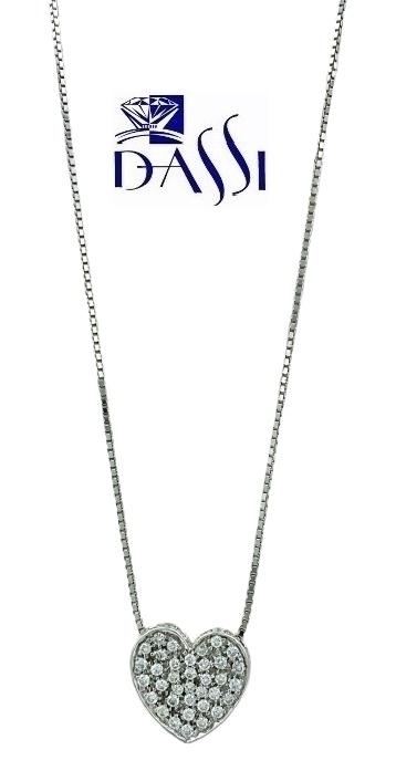Girocollo in oro bianco 18kt con ciondolo a cuore con pavè diamanti