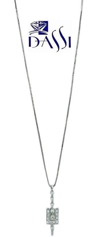Girocollo in oro bianco 18kt con ciondolo composto da una barretta con diamanti