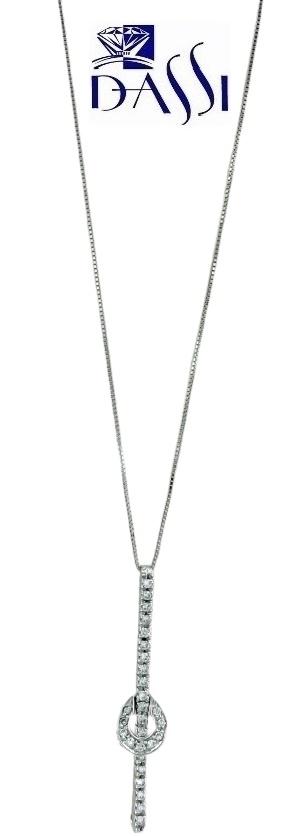 Girocollo in oro bianco 18kt con ciondolo a barretta con incassati diamanti