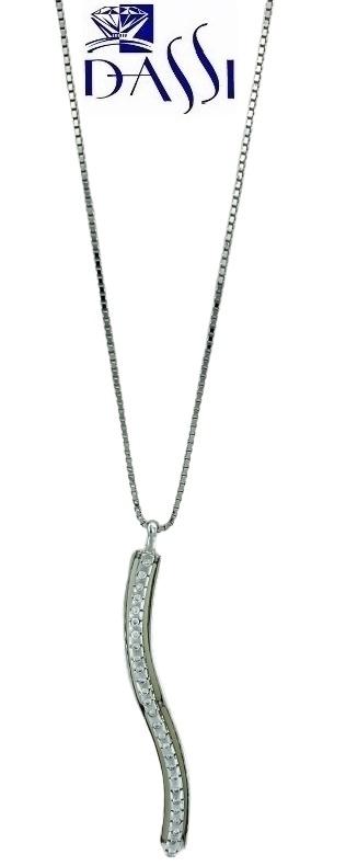 Girocollo in oro bianco 18kt con ciondolo curvilineoa con  diamanti