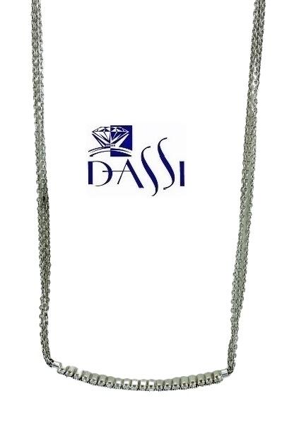 Girocollo in oro bianco 18kt con ciondolo a barretta orrizontale con diamanti
