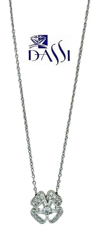 Girocollo in oro bianco 18kt  con ciondolo a quadrifoglio  con pavè di diamanti