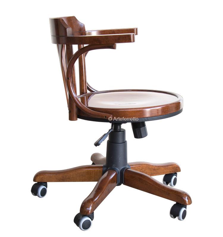 Drehstuhl Holzsitz mit Rollen