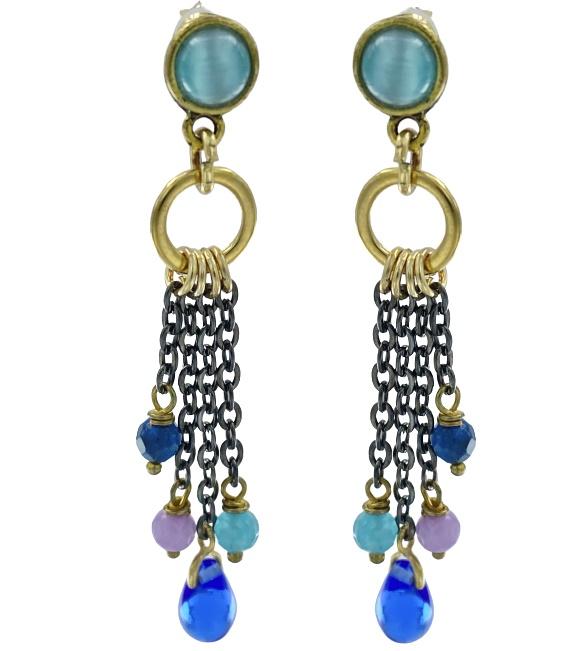 Orecchini pendenti con perno in ottone color oro antico con cabochon di vetro blu.