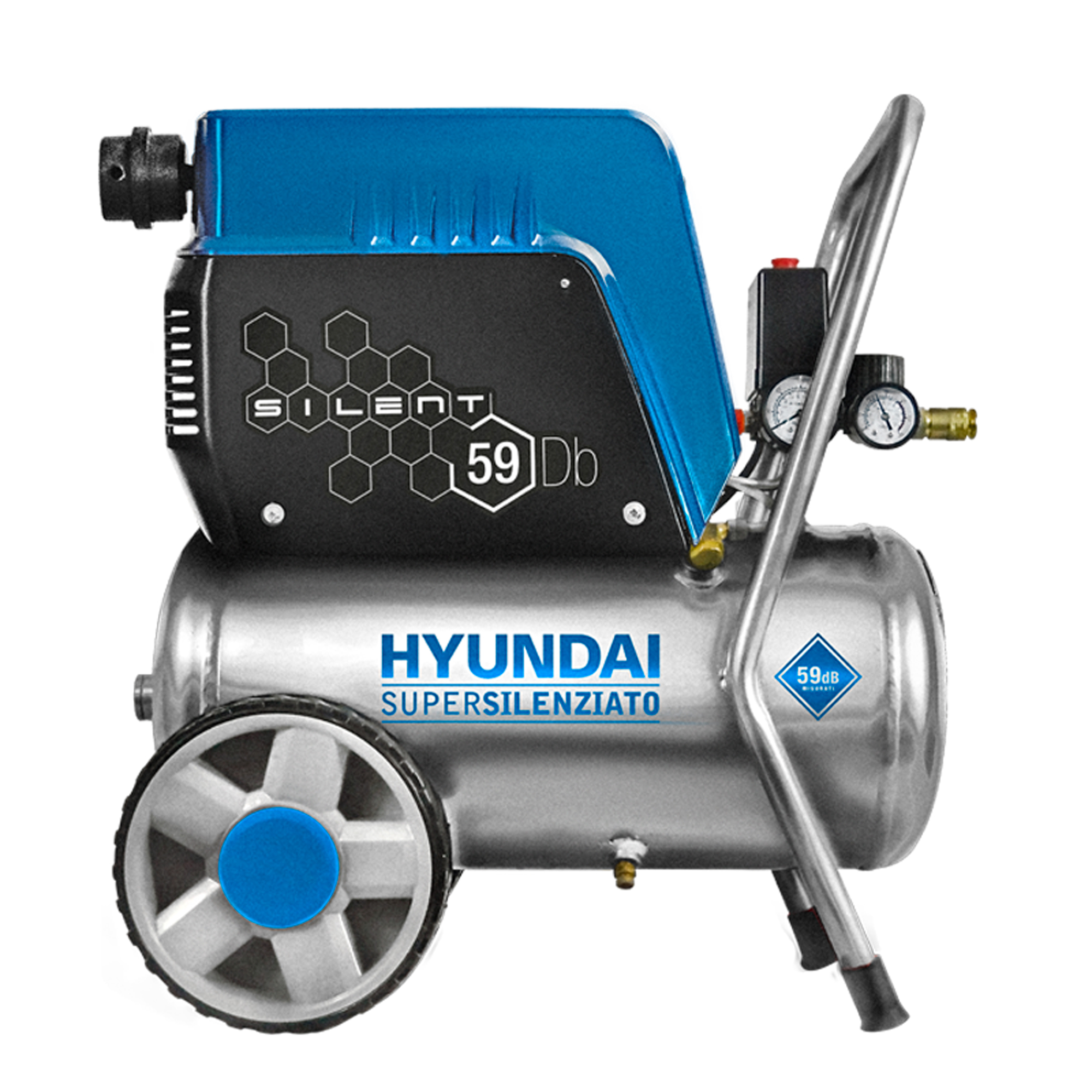 COMPRESSORE HYUNDAI SUPERSILENZIATO OILLESS CARENATO Cod. 65710 - 24 Litri