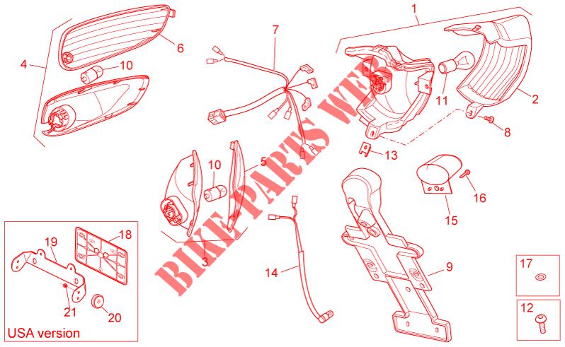 Lente Lampeggiatore Posteriore SX Aprilia SR/R/Facotory/Replica