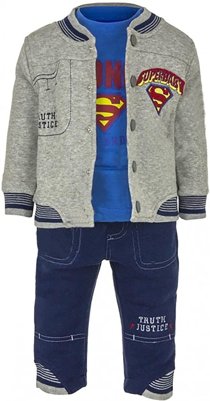 Superman Tuta 3 Pezzi Felpa Maglietta Pantalone 6 Mesi, Grigio