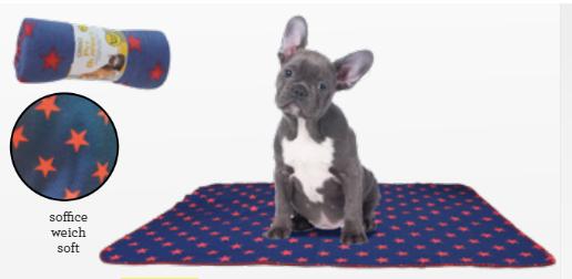 Coperta plaid per cane o gatto  blu e rosso STARS croci 100x70cm