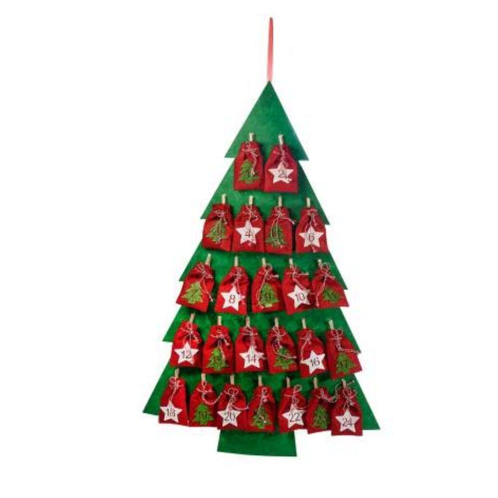 Calendario dell'Avvento ad albero di Natale con sacchettini