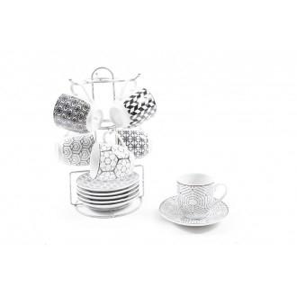 Mercury Confezione 6/Sei Tazze per il Caffè con Piattino e Appendino da Casa/Cucina