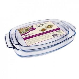 Cegeco Set 2pz Teglie Rettangolari in Vetro per la Cucina 30x30x30 cm