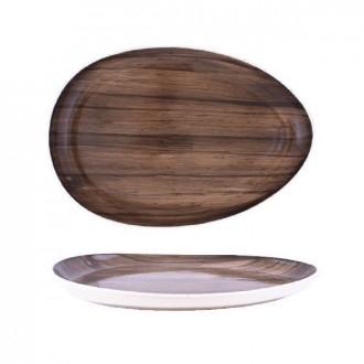Cegeco Selva Teglia da Cucina 36X25Cm Effetto Legno in Porcellana