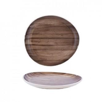 Cegeco Selva Teglia da Cucina 27x25Cm Effetto Legno in Porcellana