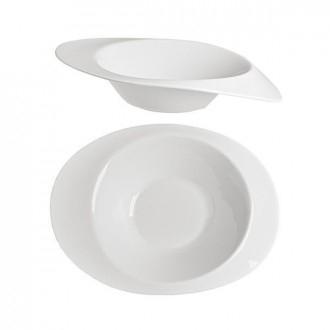 Cegeco Piatto da Portata Diametro 24, Interno 25X19 Bianco in Porcellana