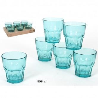 Geri Confezione 6 Bicchieri Trasparenti Azzurri Bicchiere da Acqua 26 cl Per la Tavola