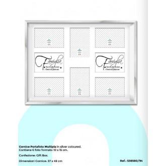 Virtime Porta Foto 10x15 cm Silver Contiene 6 Foto Formato 10x15 cm Multipla Decorato in Argento