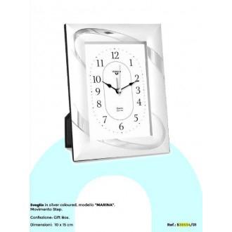 Virtime Sveglia Ricamata con Cornice Silver Argento Collezione Marina 10X25 cm Elegante