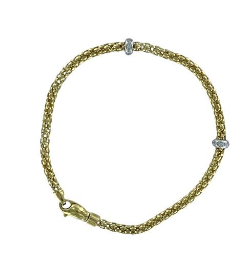 Bracciale Fope  in oro rosa o giallo  18kt  con diamanti taglio brillante