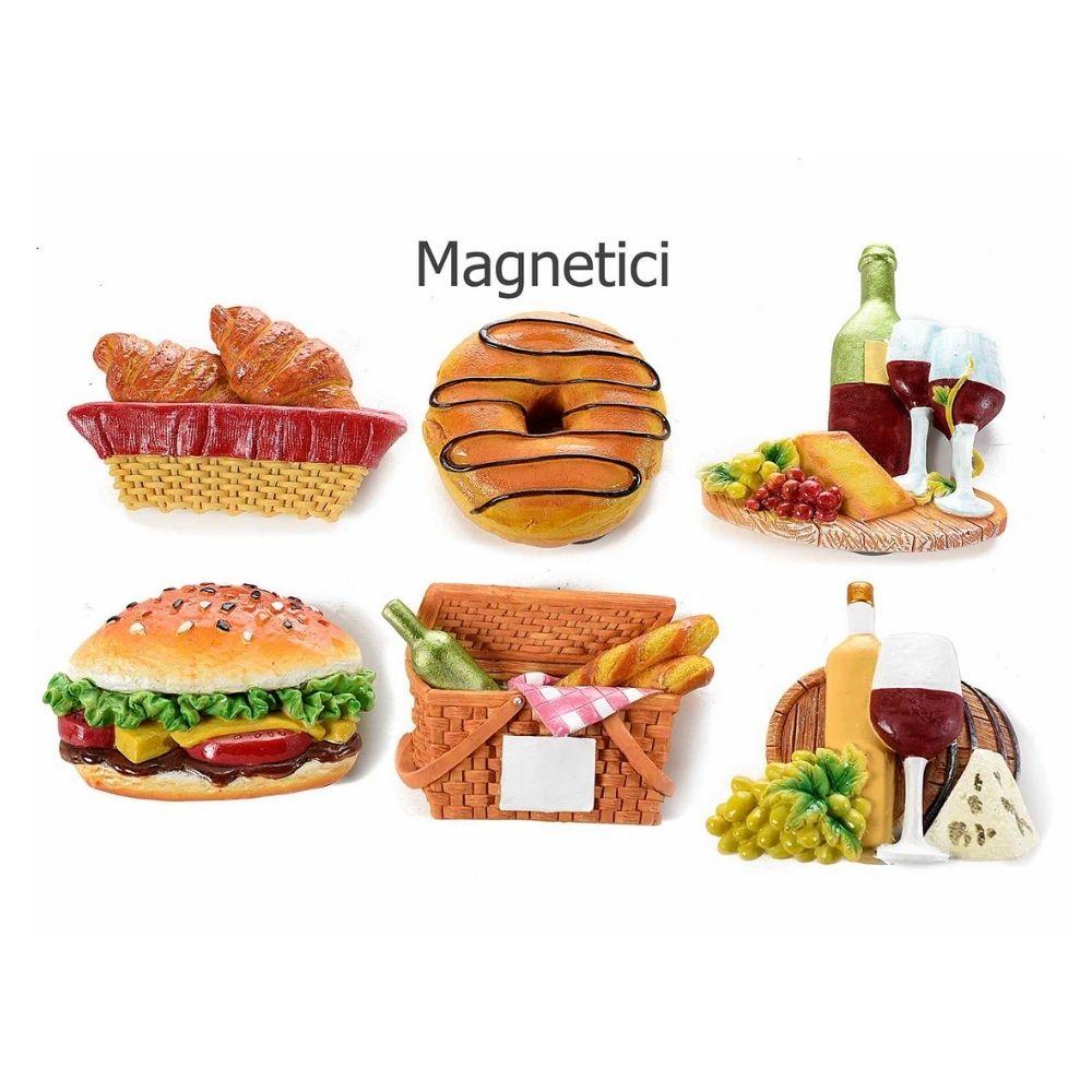 Set 12 magneti a forma di cibo in resina colorata con calamita