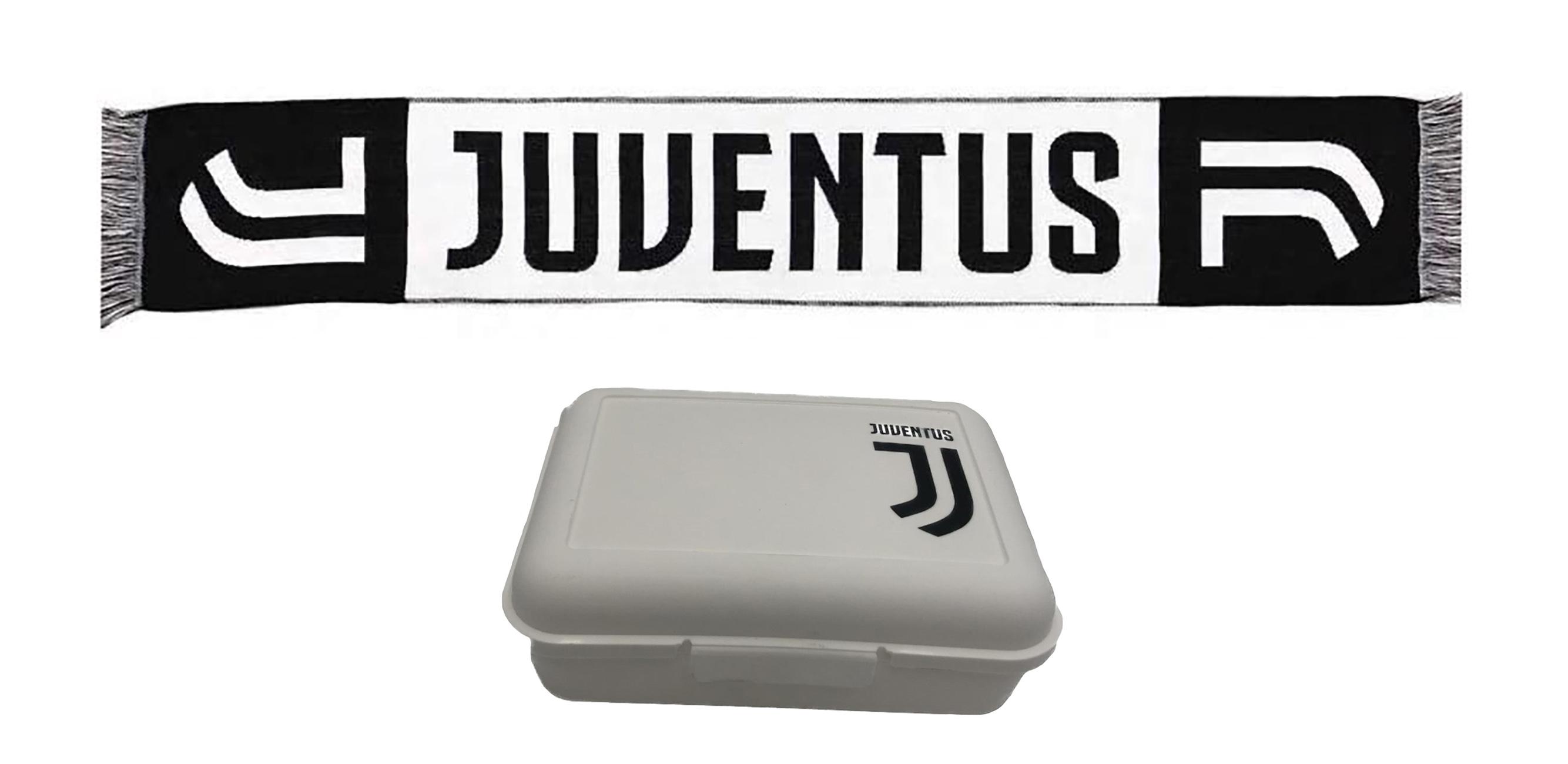 Portamerenda + Sciarpa Juventus in scatola regalo