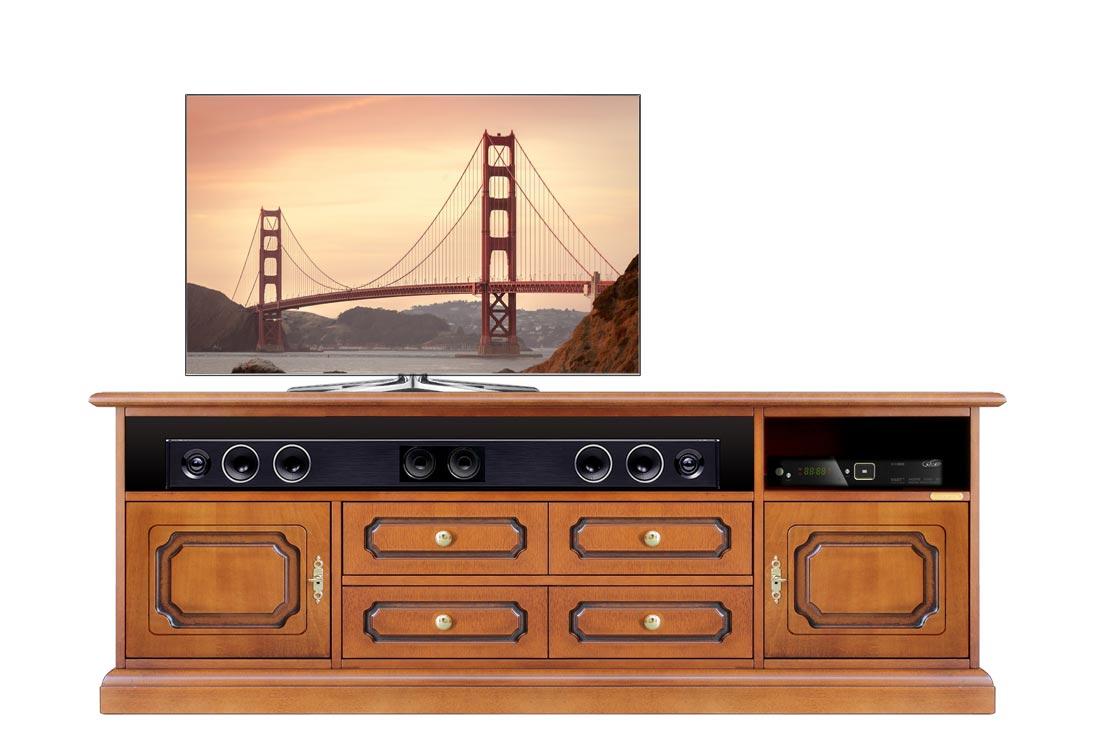 Mueble TV compartimiento barra de sonido funcional