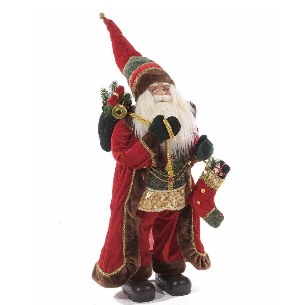 Babbo Natale con cappotto effetto velluto e calza porta doni alto 110 cm