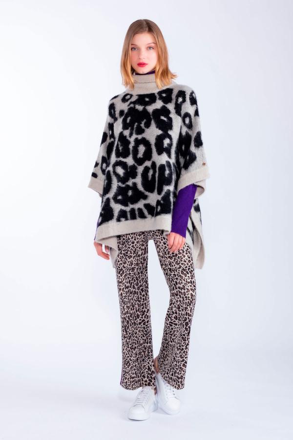 Pantalone tricot animalier