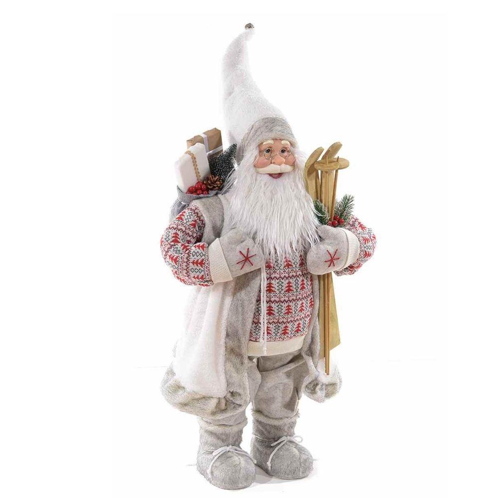 Babbo Natale con abito bianco e dettagli finto pelo alto 110 cm