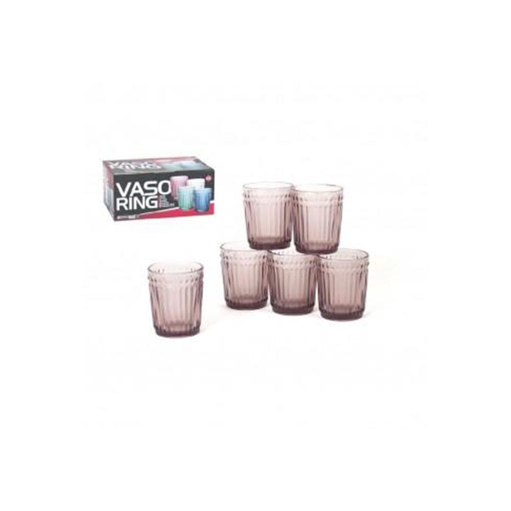 Geri Confezione 6 Bicchieri Rosa Da Tavola Basso 300 ml